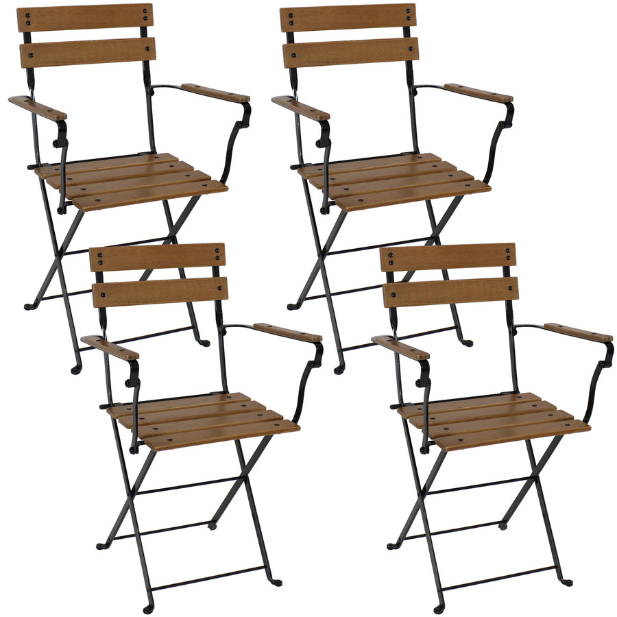 Sunnydaze Basic European Chestnut Wooden Folding Small Bistro Dining Armchair - Portable, Compact Side Chair (4 Count)