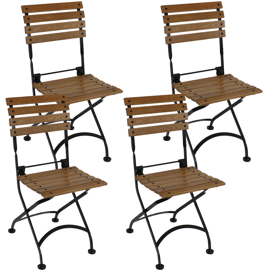 Sunnydaze European Chestnut Wooden Folding Small Bistro Dining Armchair - Portable, Compact Side Chair (4 count)
