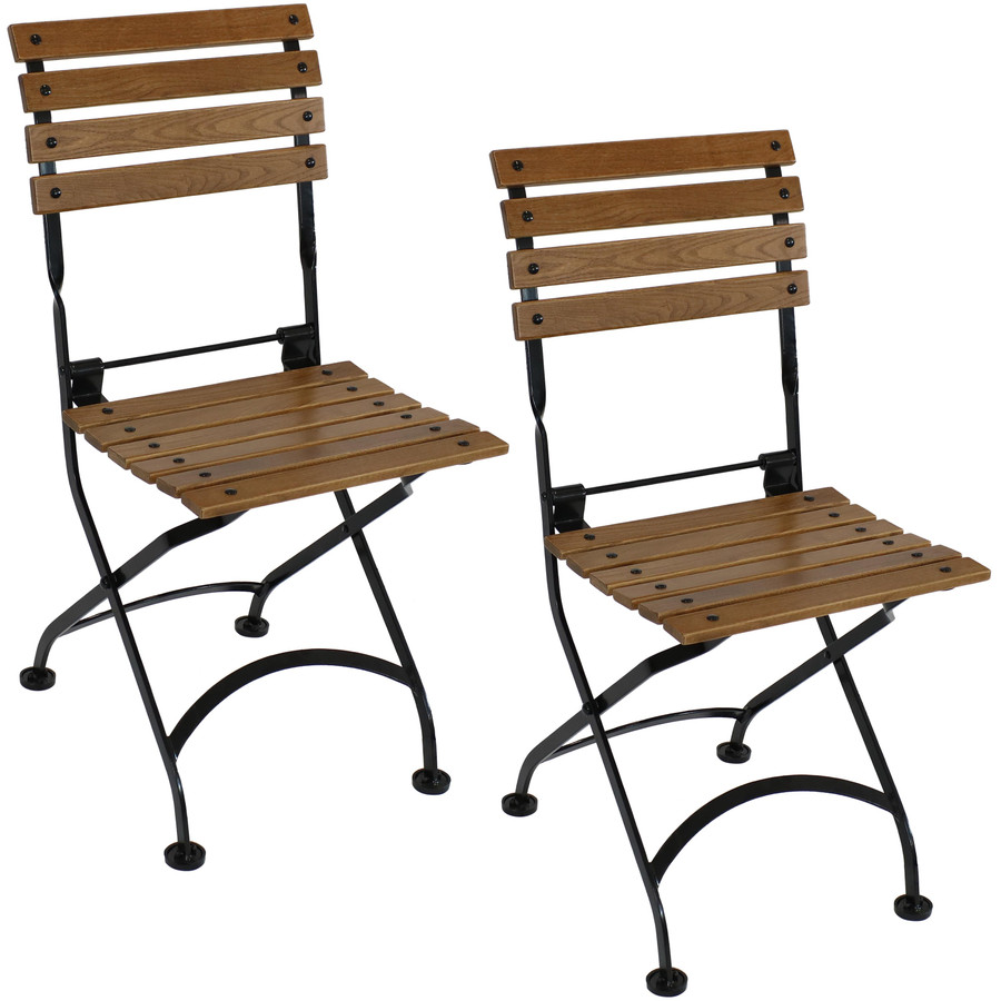 Sunnydaze European Chestnut Wooden Folding Small Bistro Dining Armchair - Portable, Compact Side Chair (2 count)