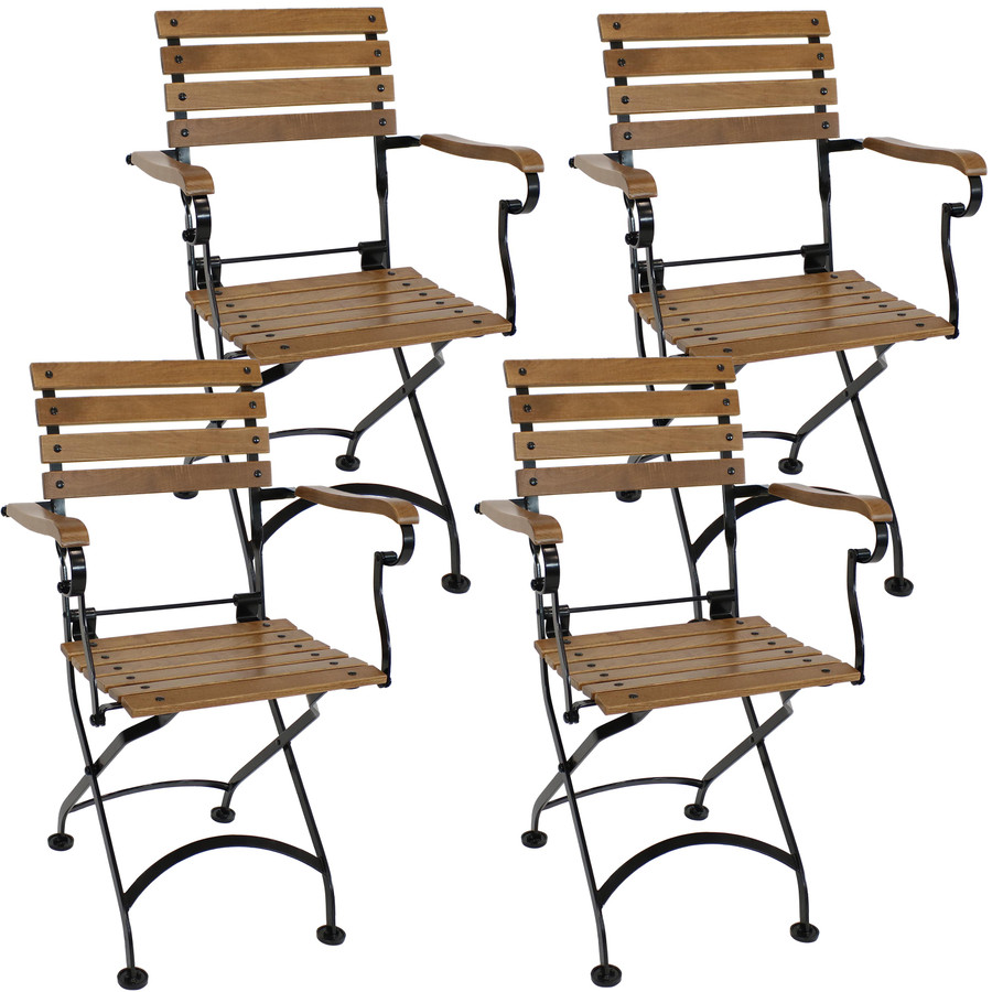 Sunnydaze Essential European Chestnut Wooden Folding Small Bistro Dining Armchair - Portable, Compact Side Chair (4 Count)
