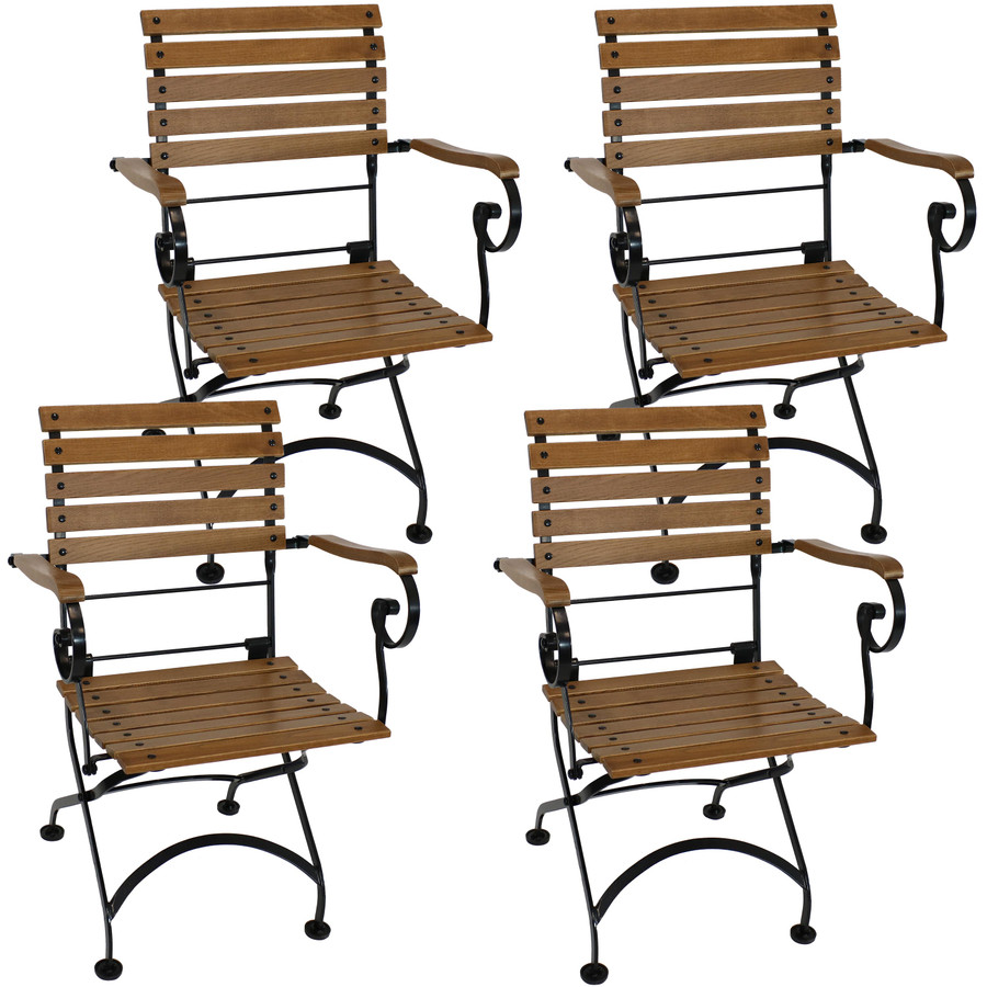 Sunnydaze Deluxe European Chestnut Wooden Folding Small Bistro Dining Armchair - Portable, Compact Side Chair (4 count)