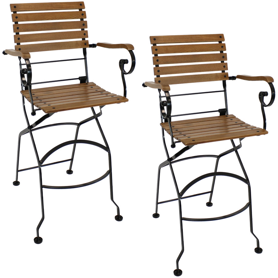Sunnydaze Deluxe European Chestnut Wooden Folding Bistro Bar Chair with Arms - Portable Bar Stool Armchair (2 count)