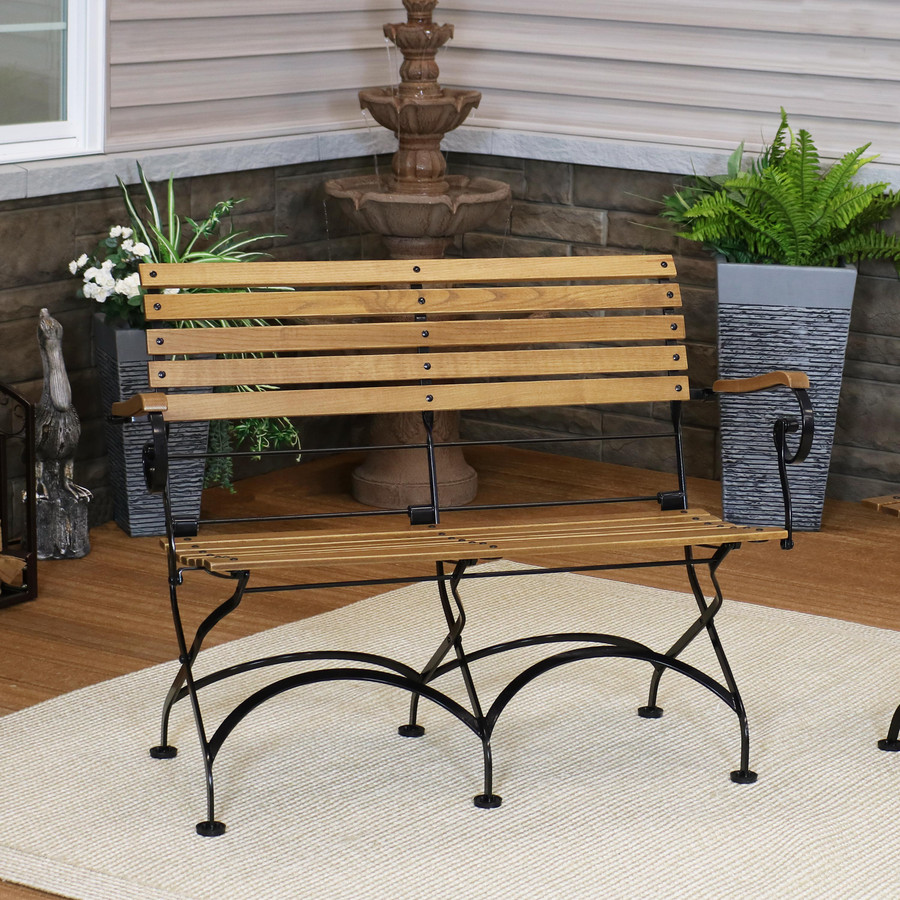 Sunnydaze European Chestnut Wooden Folding Bench with Arms - 2-Person Portable Seat for Patio, Deck, Balcony, Camping and Porch