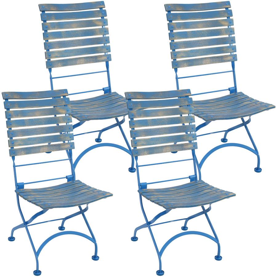 Sunnydaze Cafe Couleur European Chestnut Wooden Folding Dining Chair Portable, Blue Compact Side Chair Set - 4 Pack