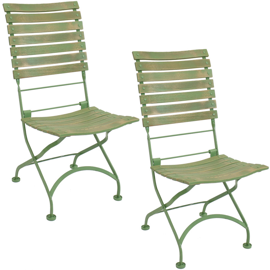 Sunnydaze Cafe Couleur European Chestnut Wooden Folding Dining Chair, Portable, Green, Compact Side Chair Set - 2 Pack