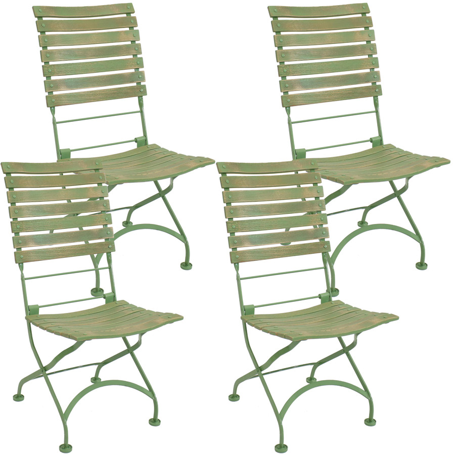 Sunnydaze Cafe Couleur European Chestnut Wooden Folding Dining Chair, Portable, Green, Compact Side Chair Set - 4 Pack