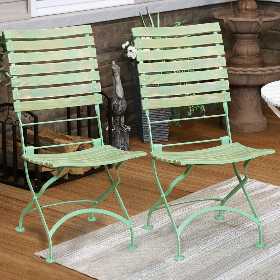 Sunnydaze Cafe Couleur European Chestnut Wooden Folding Dining Chair, Portable, Green, Compact Side Chair Set