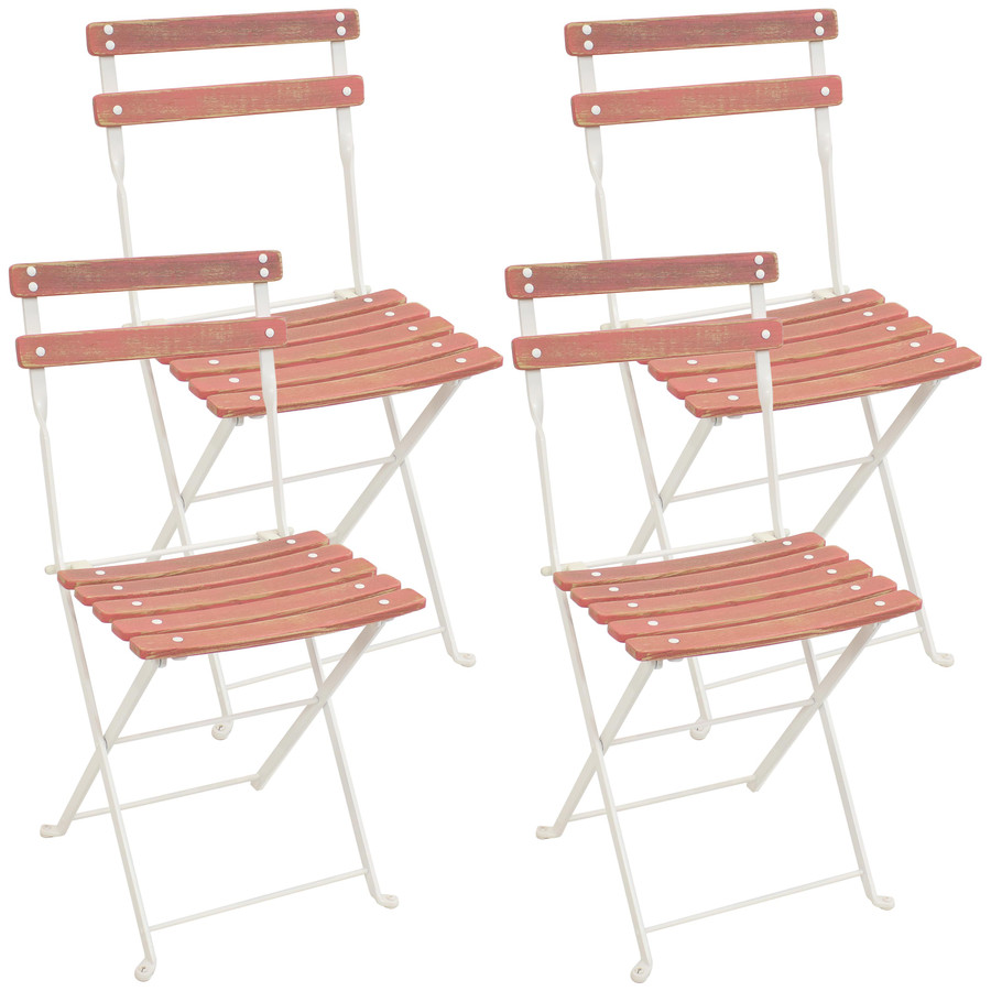 Sunnydaze Classic Cafe European Chestnut Wooden Folding Dining Chair Set of 4 - Antique Pink