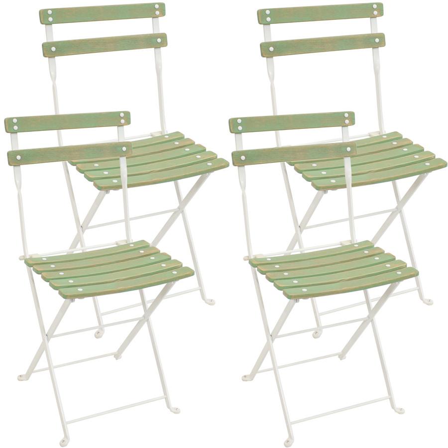 Sunnydaze Classic Cafe European Chestnut Wooden Folding Dining Chair Set of 4 - Antique Green