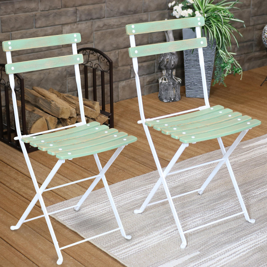 Sunnydaze Classic Cafe European Chestnut Wooden Folding Dining Chair Set of 4 - Antique Green