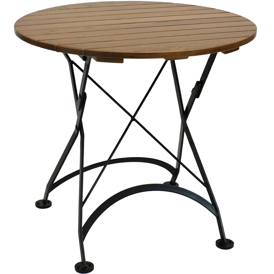 Sunnydaze European Chestnut Wood Folding Round Bistro Table, 32-Inch Diameter
