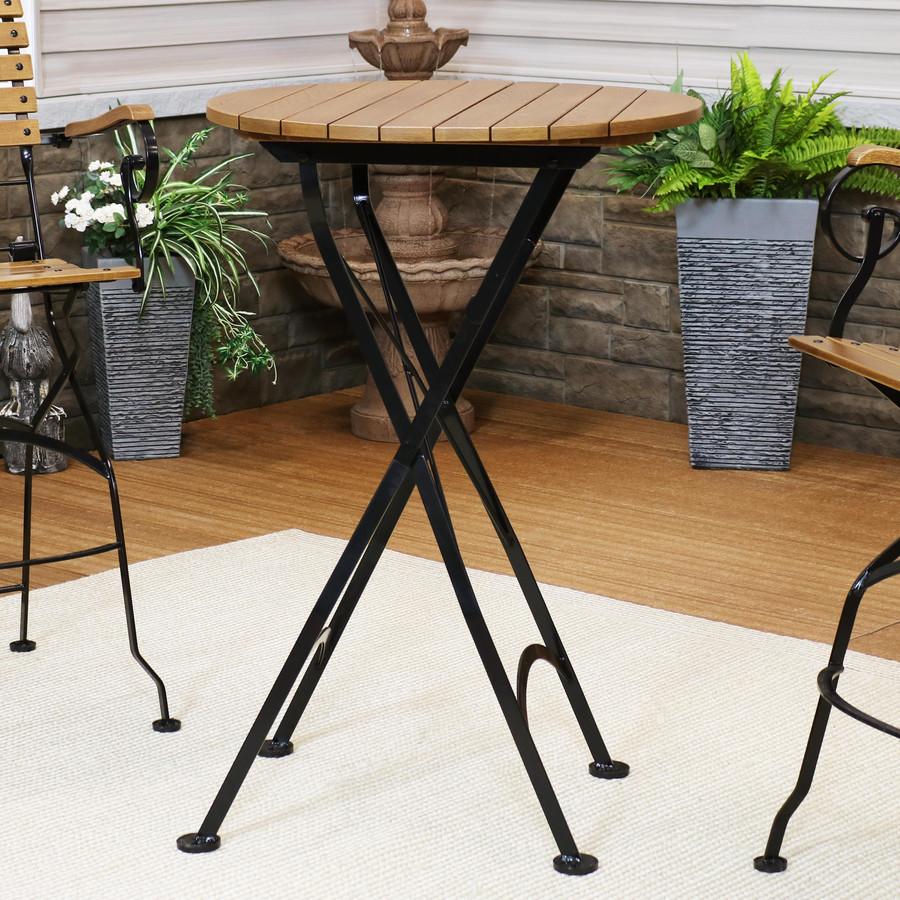 "Sunnydaze Bar Height Folding European Chestnut Wood Round Table, 28"" Round"