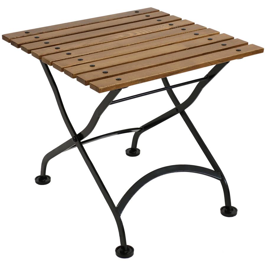 "Sunnydaze European Chestnut Wood Folding Square Side Table, 20"" Square - Brown"
