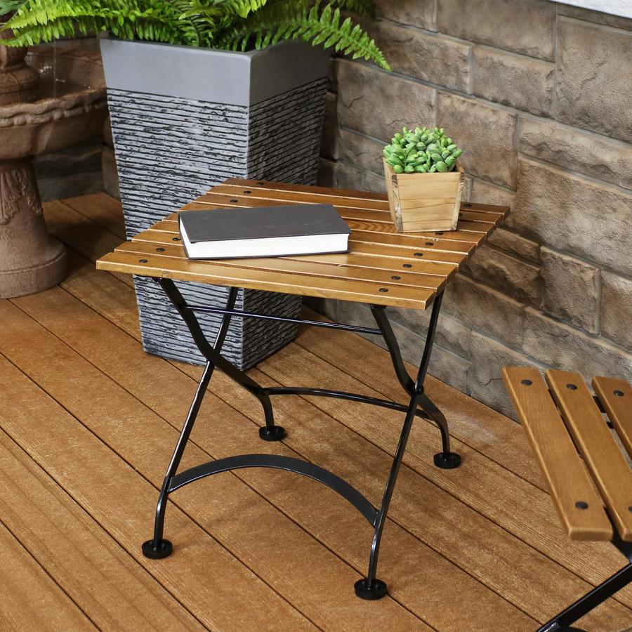 "Sunnydaze European Chestnut Wood Folding Square Side Table, 20"" Square"
