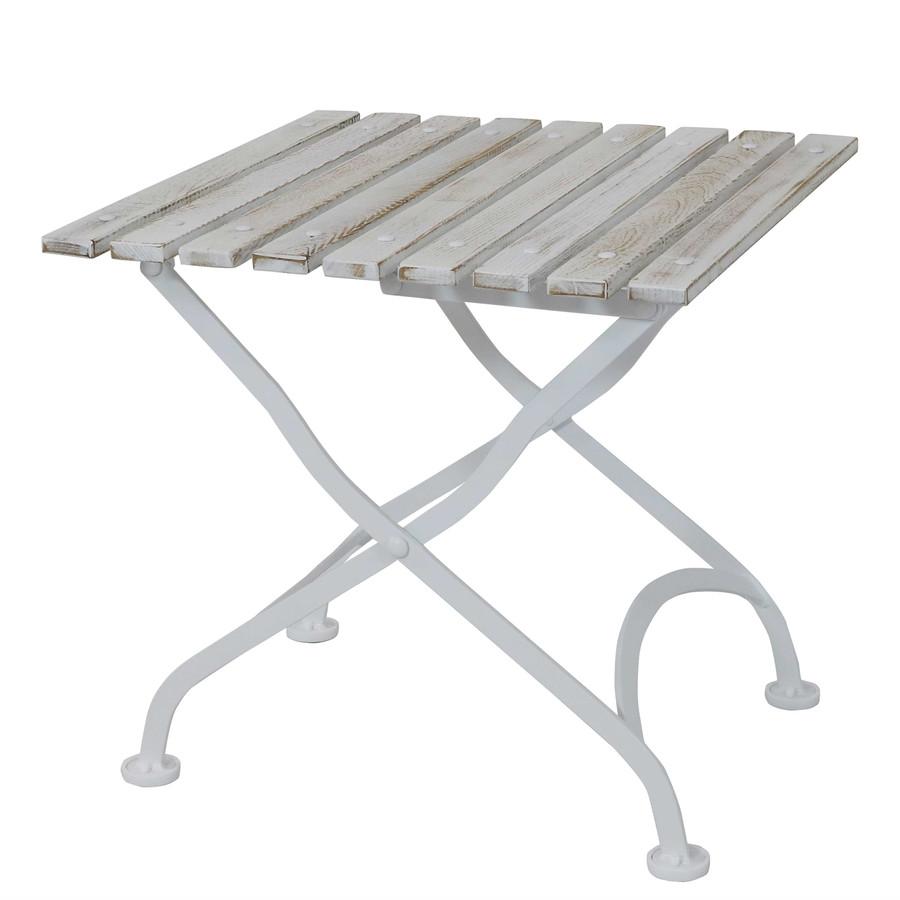 "Sunnydaze European Chestnut Wood Folding Square Side Table, 20"" Square - White"