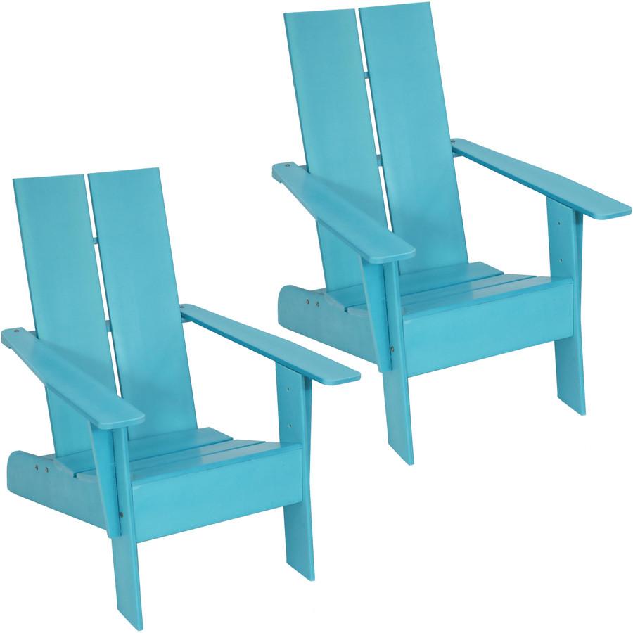 Sunnydaze Carnlough Outdoor Modern Adirondack Patio Chair, Set of 2, Blue