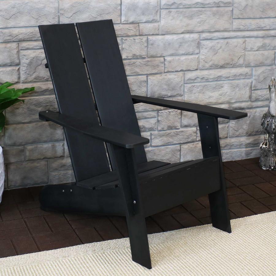 Sunnydaze Carnlough Outdoor Modern Adirondack Patio Chair, Black