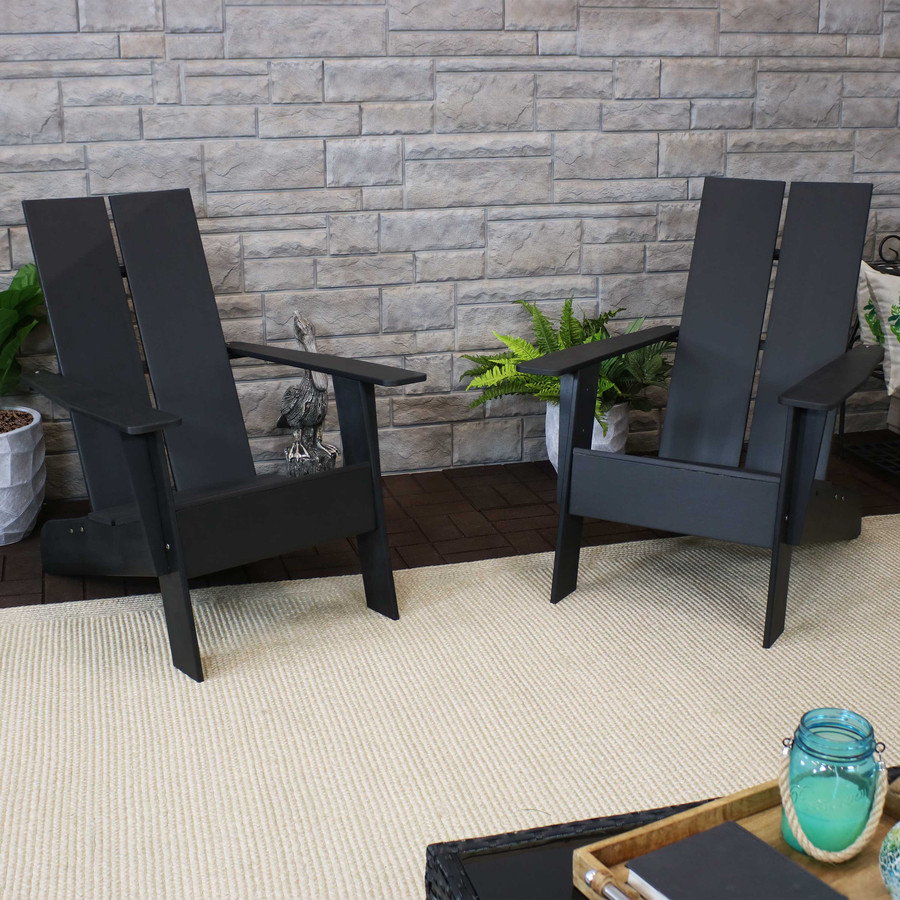 Sunnydaze Carnlough Outdoor Modern Adirondack Patio Chair, Set of 2, Black