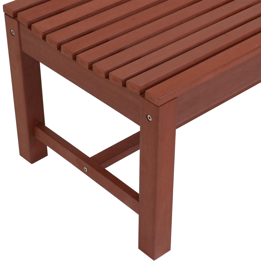 Closeup of Shandon Outdoor Backless Bench, Cherry Finish