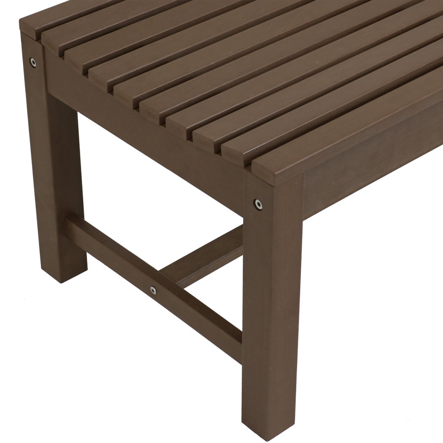 Closeup of Shandon Outdoor Backless Bench, Brown