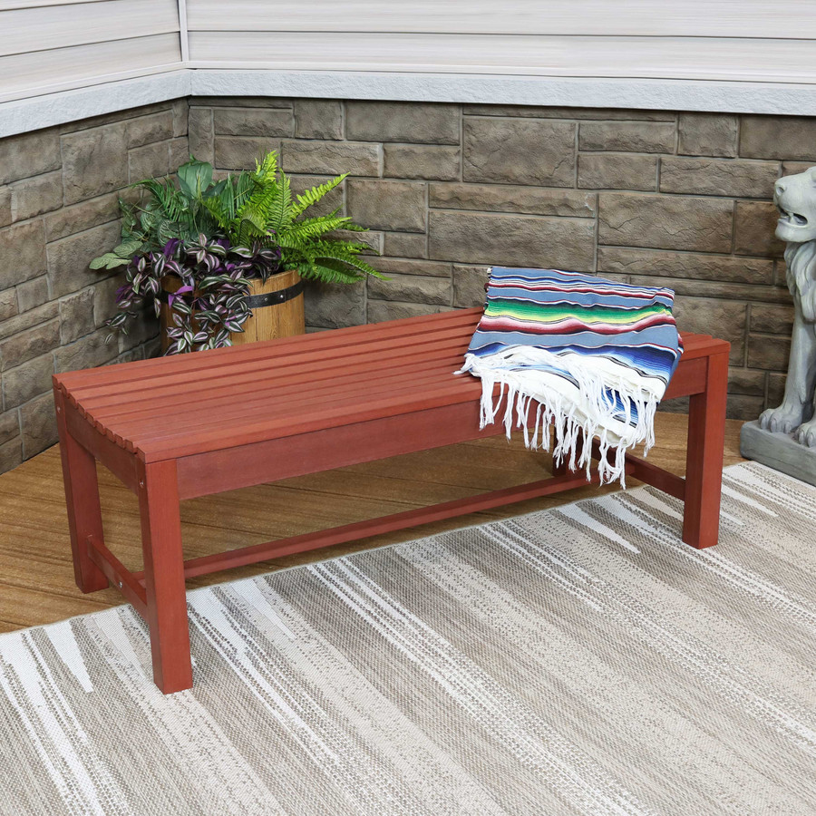 Shandon Outdoor Backless Bench, Cherry Finish