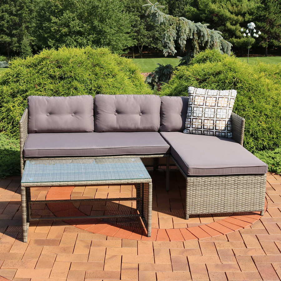 Longford Outdoor Patio Sectional Sofa Set with Coffee Table and Cushions