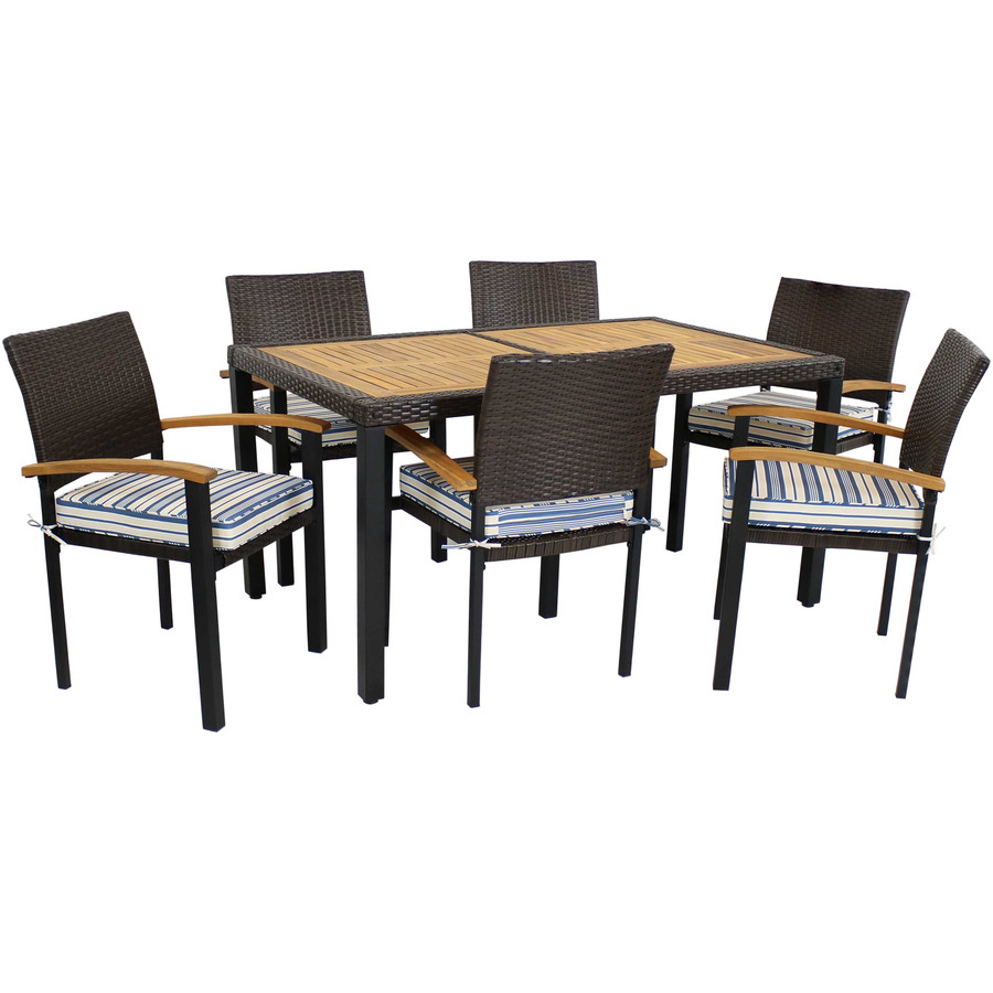 Carlow 7-Piece Outdoor Patio Dining Set with Cushions