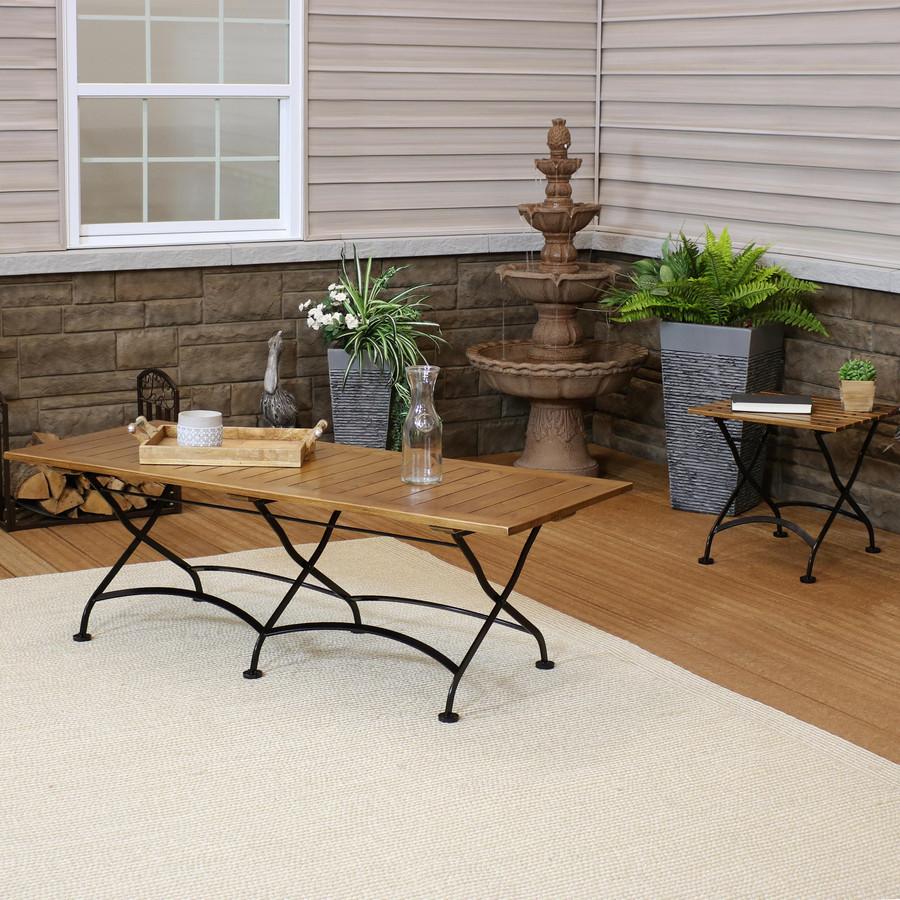 Sunnydaze European Chestnut Wood Folding Table Set