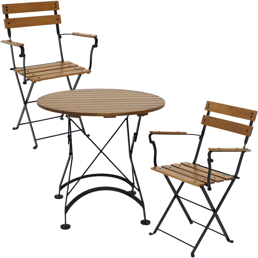 Sunnydaze Basic European Chestnut Wood 3-Piece Bistro Table and Chairs Set