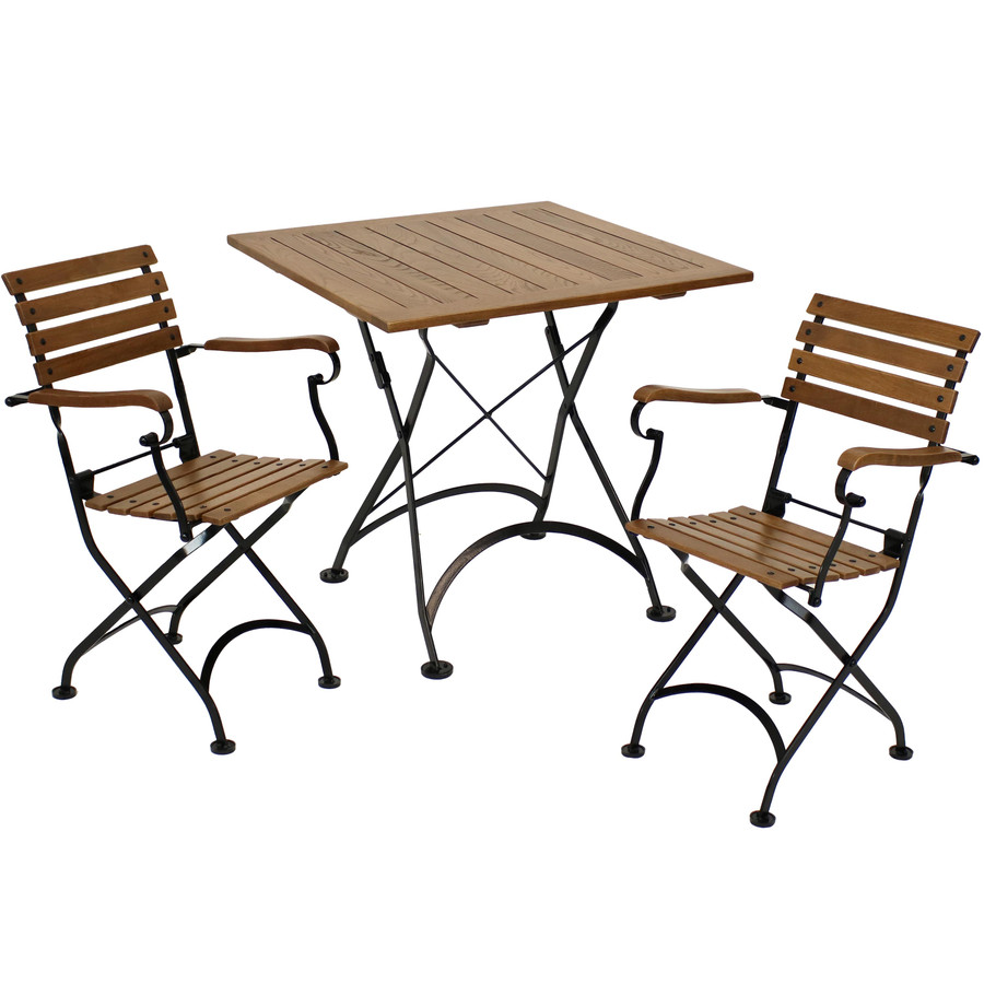 Sunnydaze Essential European Chestnut 3-Piece Folding Bistro Chair and Table Set