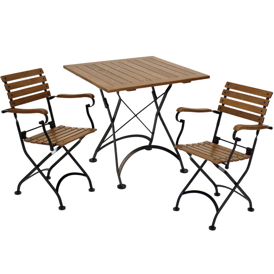 Sunnydaze Essential European Chestnut 3-Piece Folding Bistro Chair and Table Set