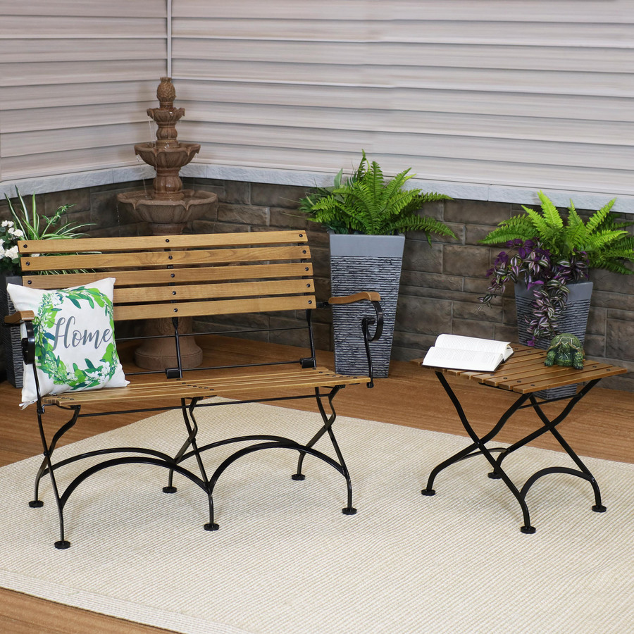Sunnydaze European Chestnut Wood Folding Side Table and Bench Set