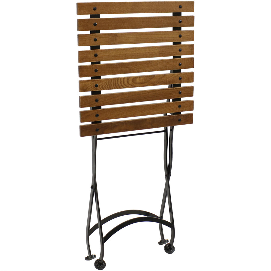 Sunnydaze European Chestnut Wood Folding Side Table and Bench Set