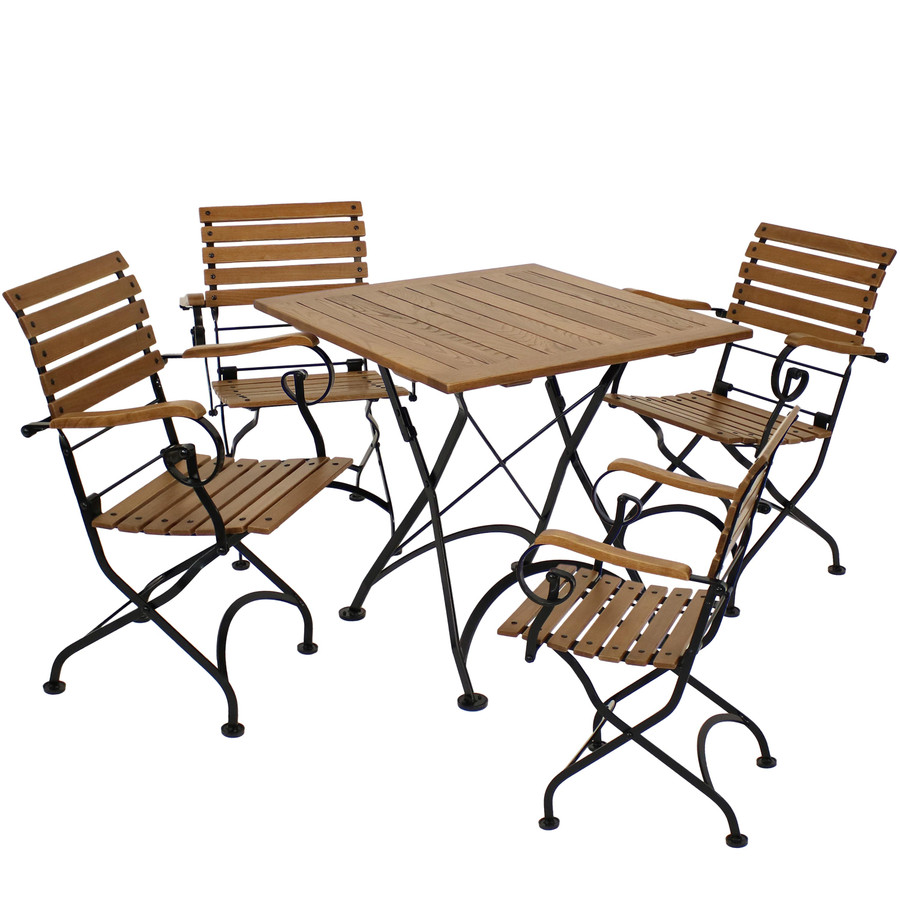 Sunnydaze Deluxe European Chestnut 5pc Folding Bistro Dining Table and Chair Set