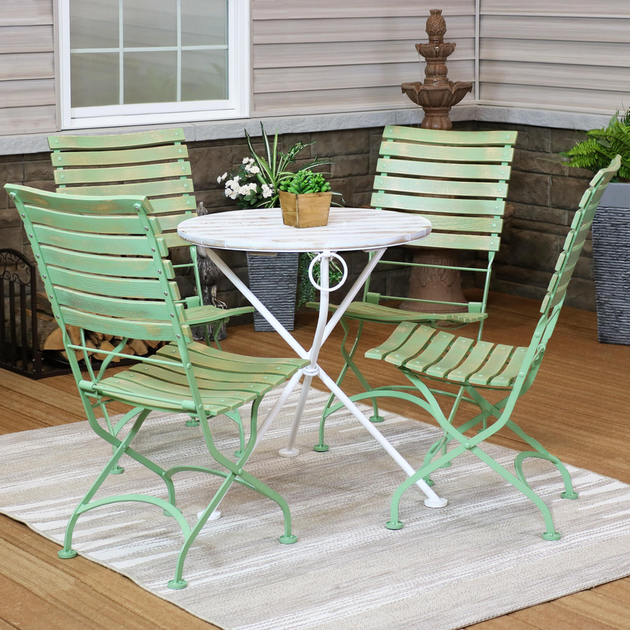 Sunnydaze Cafe Couleur Shabby Chic Chestnut Wooden Folding Bistro Table and Chairs, 5-Piece Set
