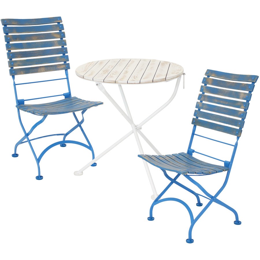 Sunnydaze Cafe Couleur Shabby Chic Chestnut Wooden Folding Bistro Table and Chairs, 3-Piece Set