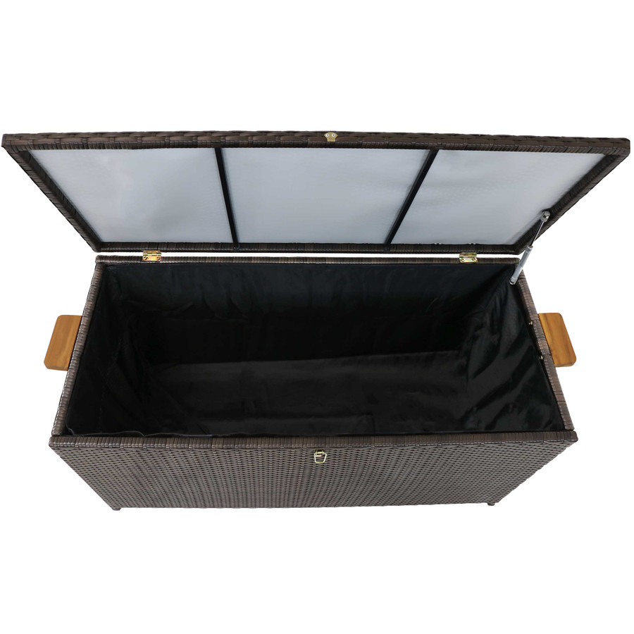 Opened Outdoor Deck Box, Overhead View, Brown