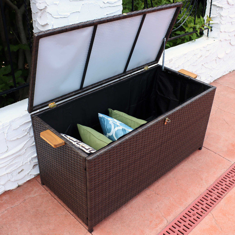 75-Gallon Outdoor Deck Box with Acacia Wood Handles, Opened with Overhead View, Brown
