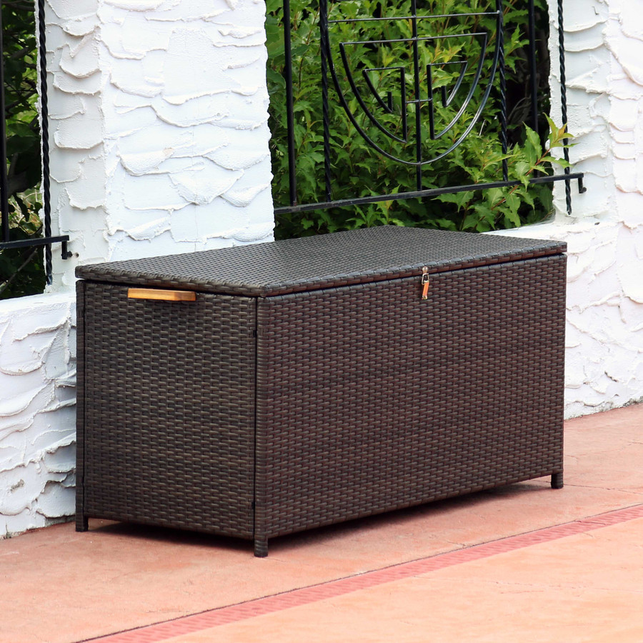 75-Gallon Outdoor Deck Box with Acacia Wood Handles, Brown