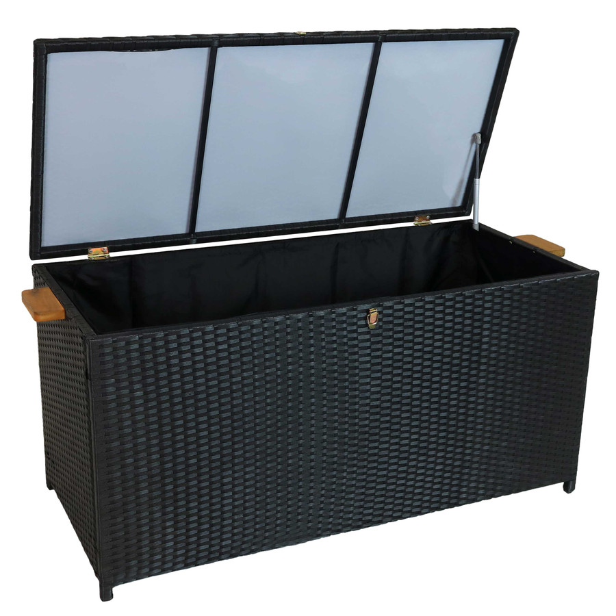 Opened Outdoor Deck Box, Overhead View, Black