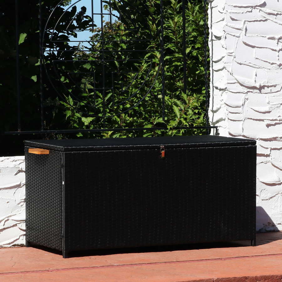 75-Gallon Outdoor Deck Box with Acacia Wood Handles, Black