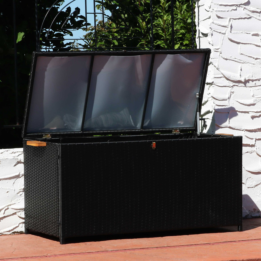 75-Gallon Outdoor Deck Box with Acacia Wood Handles, Opened, Black