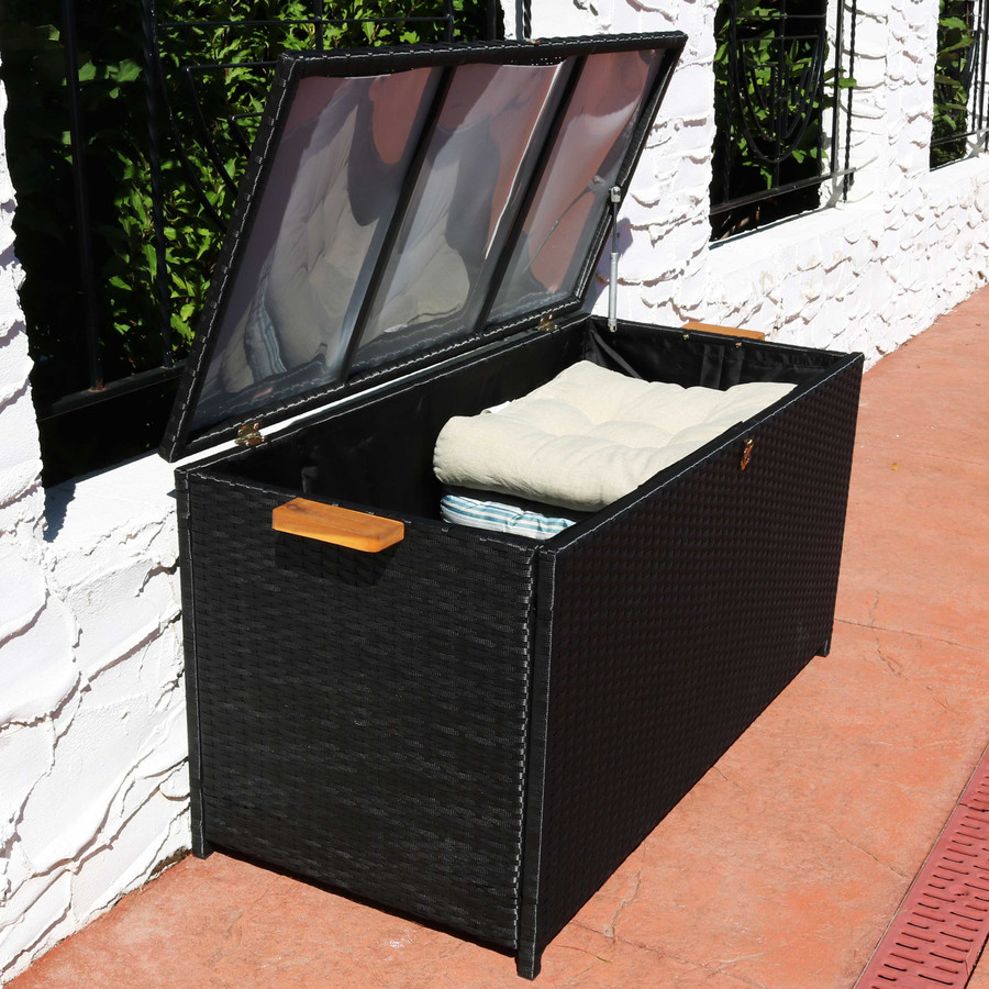 75-Gallon Outdoor Deck Box with Acacia Wood Handles, Opened with Overhead View, Black