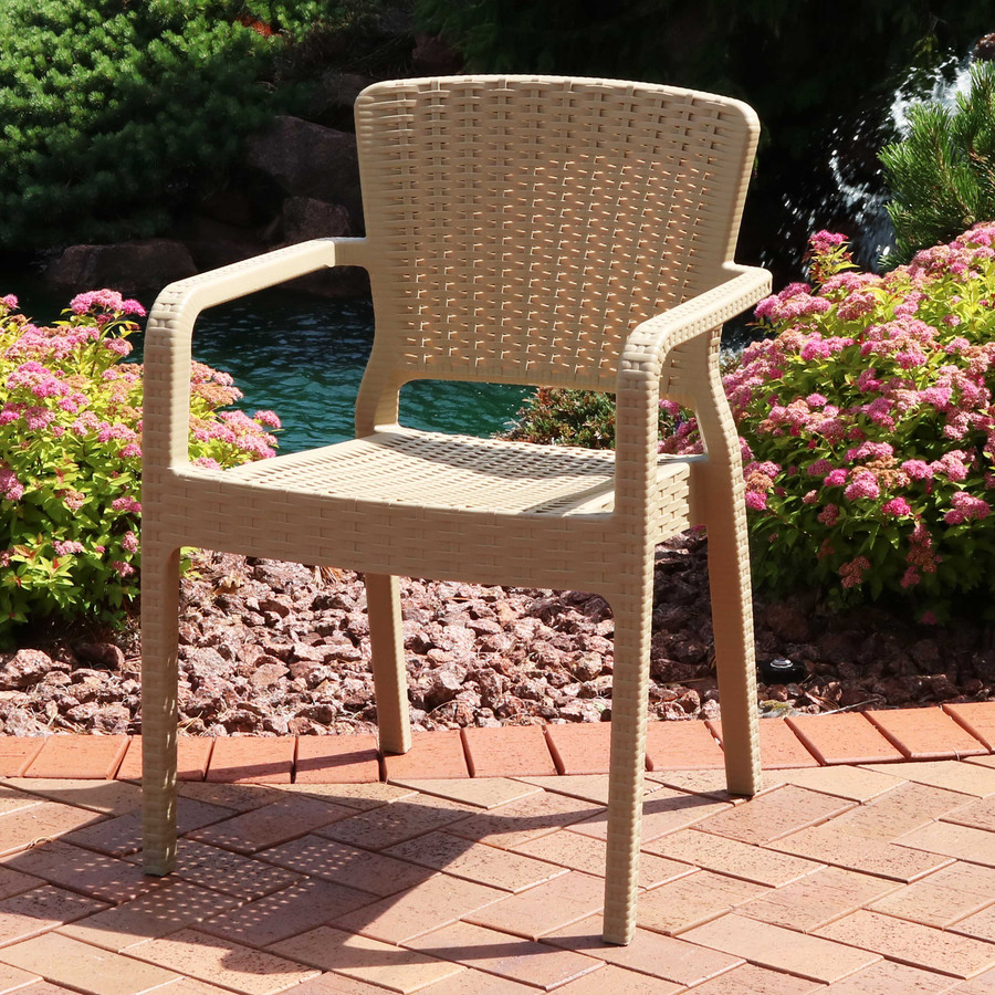 Sunnydaze Segonia Plastic Outdoor Dining Chair - All Weather Faux Wicker Rattan Design Armchair - Commercial Grade - Indoor/Outdoor Use