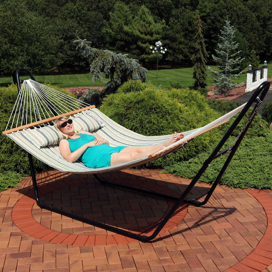Sunnydaze 2-Person Quilted Printed Fabric Spreader Bar Hammock and Pillow - Khaki Stripe