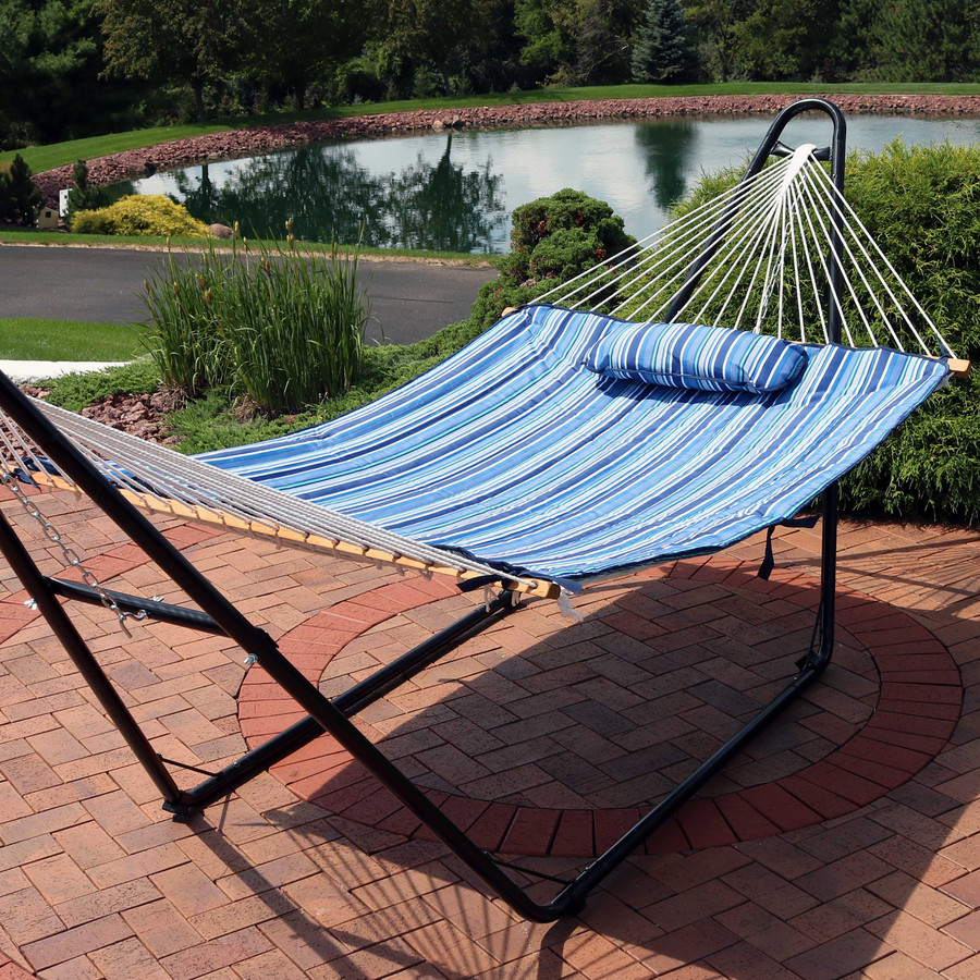 Sunnydaze Cotton Quilted Hammock Pad and Pillow - Breakwater Stripe