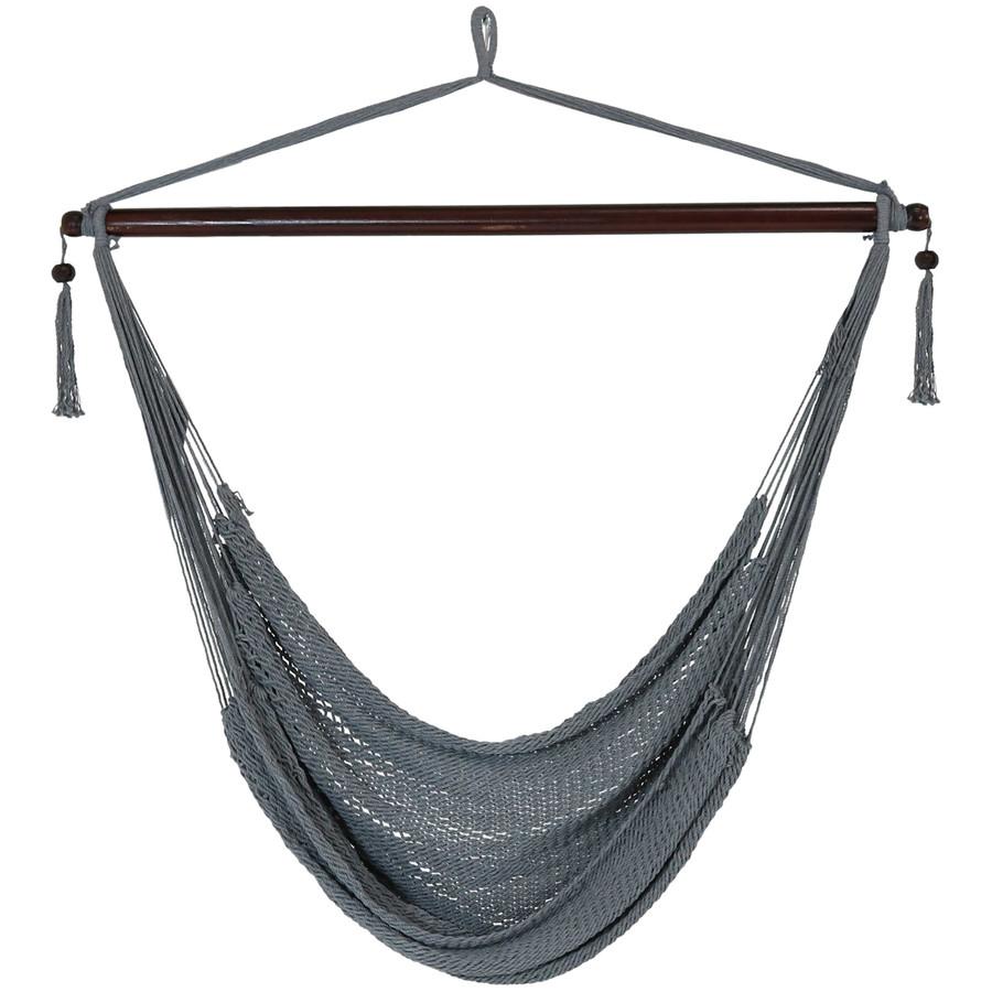 Sunnydaze Hanging Caribbean XL Hammock Chair  - Gray