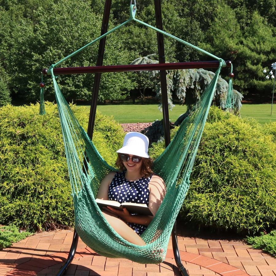 Sunnydaze Hanging Caribbean XL Hammock Chair - Jungle Green