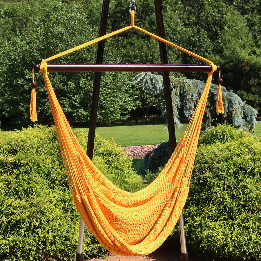 Sunnydaze Hanging Caribbean XL Hammock Chair - Gold