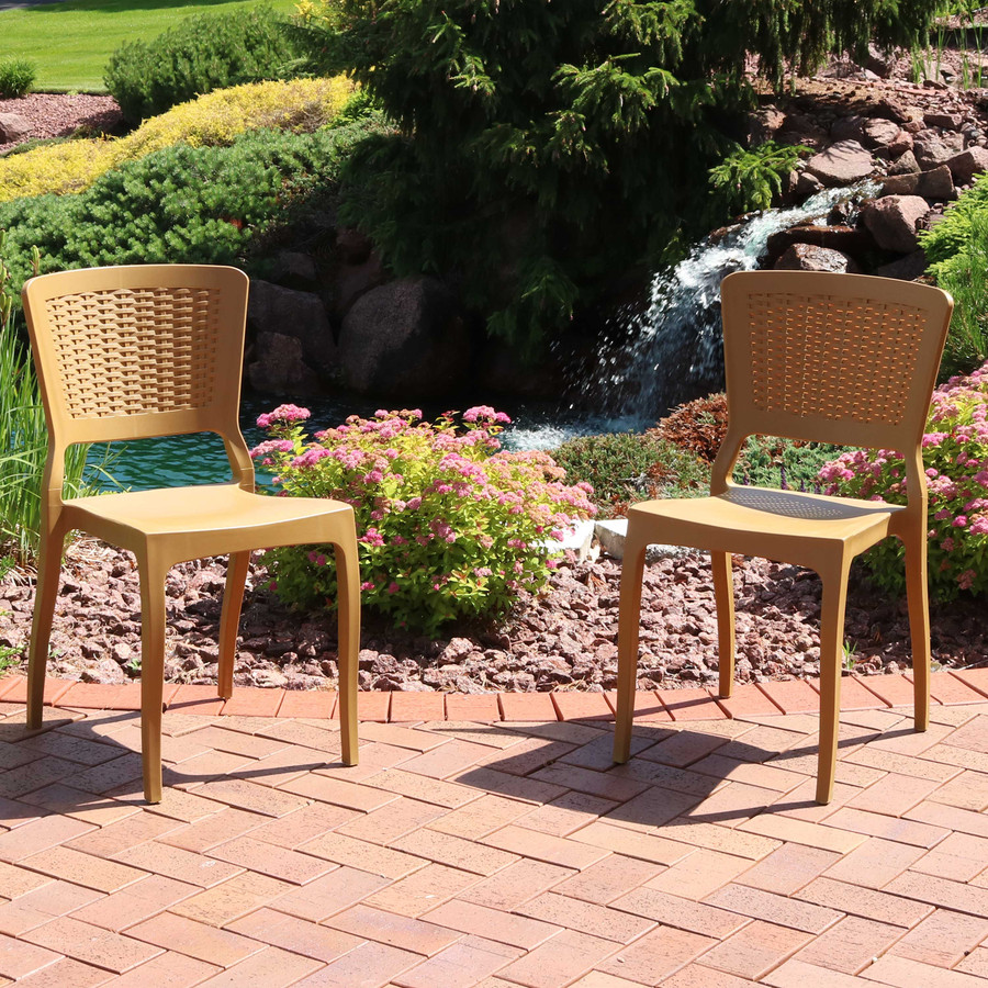 Sunnydaze Hewitt Plastic Patio Outdoor Dining Chairs
